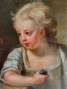 Ritratto di bambina del 700 con frutto in mano