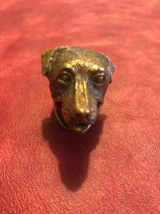 Bronze matchbox in the shape of a dog's head.