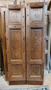 ptci358 дверь из орехового дерева с резным орнаментом, изм. 96 х 211 х 6,5 см