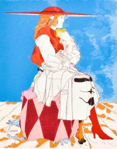 """""""Dama"""" - litografia colorida, impressão múltipla de Arturo Carmassi"""