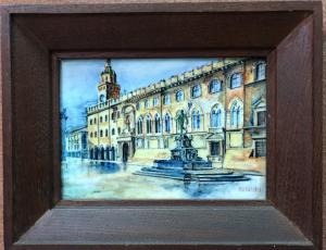 Azulejo de mayólica con el marco que representa el edificio del ayuntamiento en la Piazza Maggiore en Bologna.Firma Maccaferri.