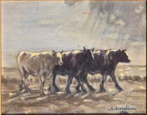 """1964年A. BARABINO在画布上作画的""""从帕斯科洛回来"""""""