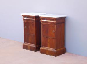 Par de mesas laterais de nogueira St. Charles X, tampo de mármore, século XIX!