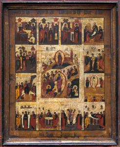 Icon with images from the life of Christ, Russia, 19th century