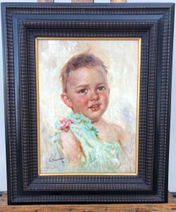 画布上描绘一个男孩的油画。