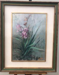 Dipintomolio su tela con composizione di fiori.Firmato.