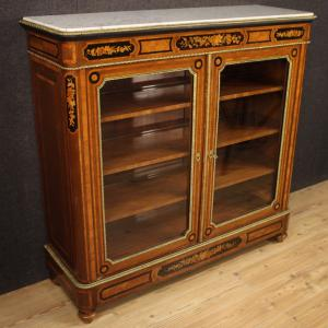 French bookcase in inlaid wood