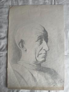 Pencil drawing on paper with a male profile, signed by F. Pietra