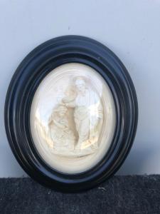 Барельеф в морской пене (магнезит) с изображением блаженного Иисуса. Подпись.Э.Мингер