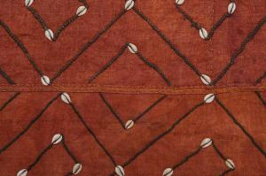 Ancient African KUBA panel with shells