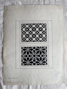 Ink drawing on paper depicting geometric motifs Signed by Enzo Mazzanti, 1918.