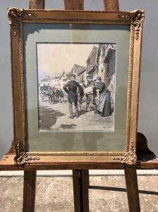 Pintura à têmpera no papel com cena do país Ludovico Marchetti (Roma 1853-Paris 1909).