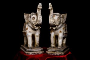 Pair of ivory elephants. Japan Sec XIX