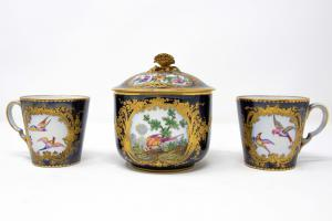 Set of two cups and a sugar bowl, 19th century, Manufacture of Sèvres