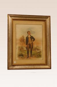 """Antique 1800's color print """"Gentleman"""""""