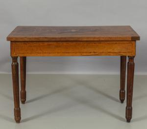Pair of Louis XVI consoles in walnut threaded in rosewood and fruit, Piacenza 19th century