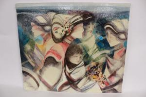 Ölgemälde auf Leinwand von Frauen mit Kind, signiert Brescianini da Rovato