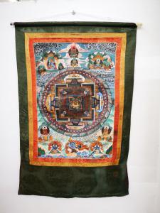 Tangka tibetano, século XX, pintura à têmpera em tecido