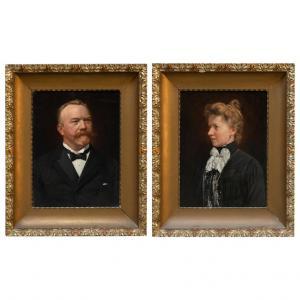 Par de retratos de pinturas al óleo antiguas en marcos originales