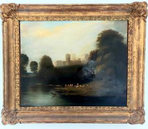 Bagnanti sotto il castello di Windsor  -Edward Charles Williams(?)
