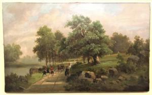 Dipinto olio su tela raffigurante scena di caccia nobiliare