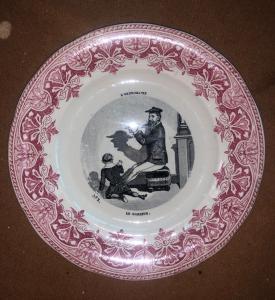有贴花装饰的陶器板材题字:L'ombromanie.Francia