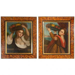 "Pair of Old Paintings ""Lavinia"" from Titian"