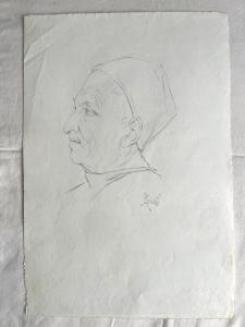 Dibujo a lápiz sobre papel con perfil de figura masculina renacentista firmado A.Santi.