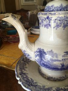 Large teapot or chocolate pot with eighteenth-century American dish