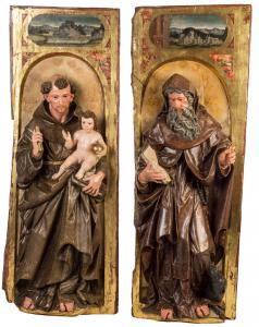 Magnífica pareja de tablas españolas que representan a San Antonio de Padua y San Antonio Abad