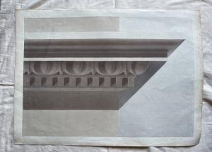 Dibujo de acuarela que representa una cornisa (archivo Arturo Pietra, Bolonia).