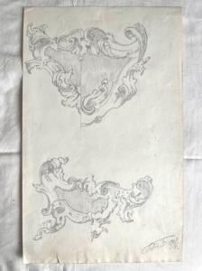 Pencil drawing on paper with a sketch of rocaille motifs.Signed by F. Pietra.