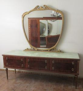 Chest of drawers with mirror - vintage 50s 60 modernism - chest of drawers - rosewood with inlays - very good condition!