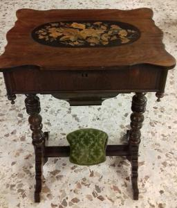 Antique French work table from the 1800s inlaid