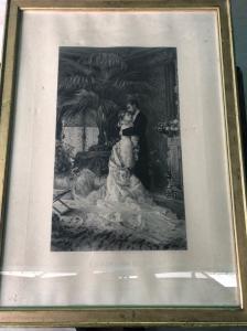 Framed print with gallant scene.France.