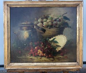 Dipinto olio su tela raffigurante natura morta.Firmato.Francia.