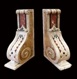 Pair of beautiful shelves in polychrome marble. Period 1700.