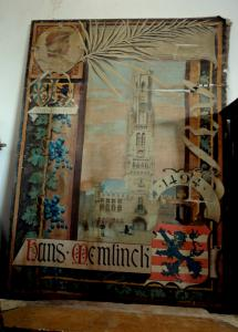 Painting on neo-Gothic canvas, with coats of arms and heraldic symbols h 200 cm x 145 cm width.