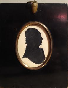 Antica silhouette cameo miniatura, uomo, Francia Epoca Impero