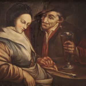 Antiguo óleo sobre lienzo del siglo XVIII.