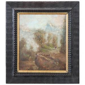 Pintura a óleo sobre papelão Luigi Bosio (1896-1959) início dos anos 1900 euro 800 tratável