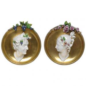 pair of Cappé porcelain rounds