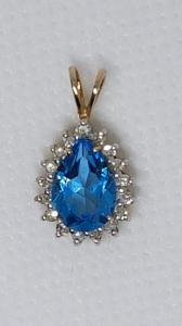 Aquamarin-Halskette aus 8 Karat Gelbgold mit Diamanten