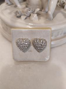 Pendientes de oro blanco de 18 kt con circonitas en forma de corazón, 50/60 años