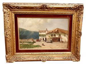LUIGI NONO (Fusina 1850 - Venezia 1918) scorcio di vita paesana - opera firmata e datata 1886