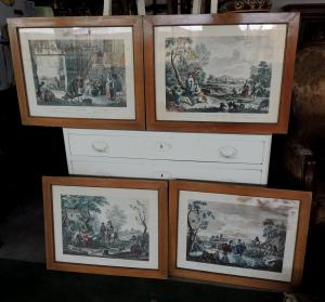 four watercolor etchings by C. Wagner