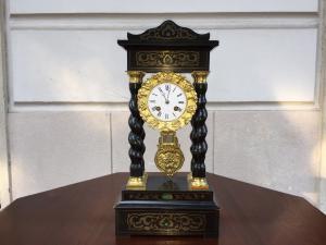 Orologio - in legno con smalti colorati - metà 800 - Impero - francese - funzionante