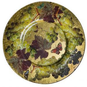 Grande piatto da parete decorato a découpage e foglia oro