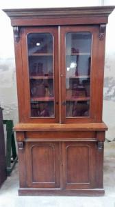 Credenza doppio corpo in mogano con vetrina epoca Vittoriana inglese