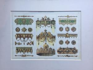 Ornaments for theatrical scenographies - 20th century print from Bernasconi engraving